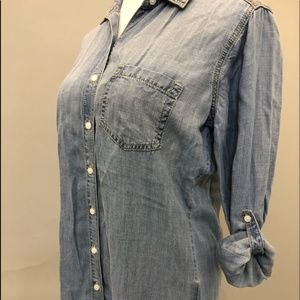 Sneak Peek Denim Button-Up Dress